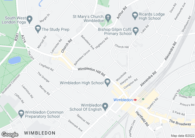 Map for Wimbledon Hill Road, WImbledon