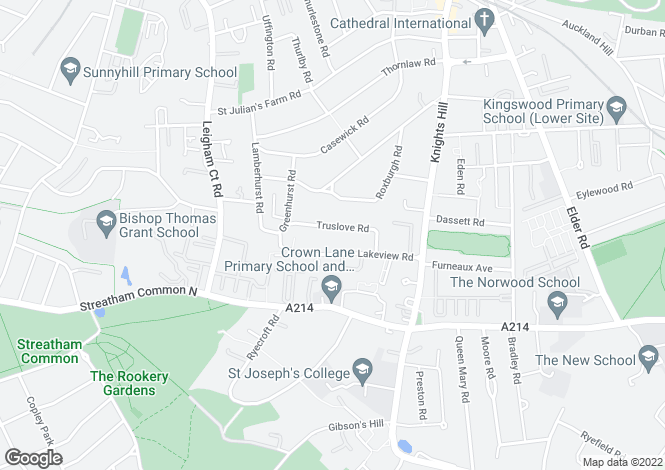 Map for Truslove Road, West Norwood