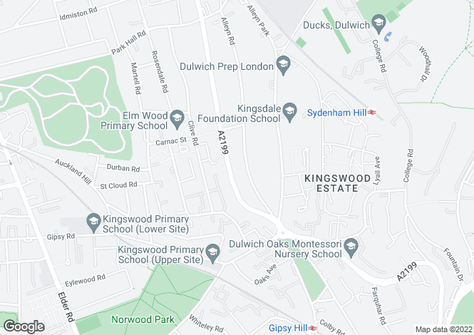 Map for Alleyn Road, Dulwich, London SE21