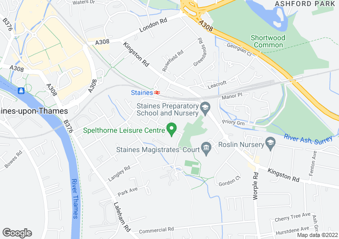 Map for Cotswold Close, Staines, Middlesex, TW18
