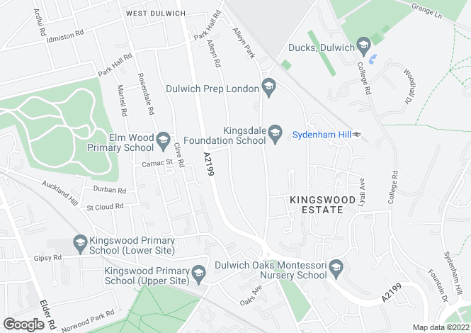 Map for Alleyn Road, Dulwich