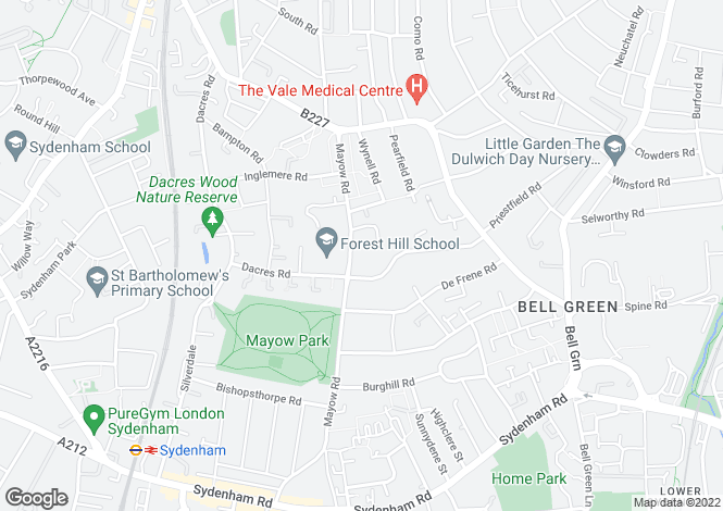 Map for Mayow Road, Forest Hill, LONDON