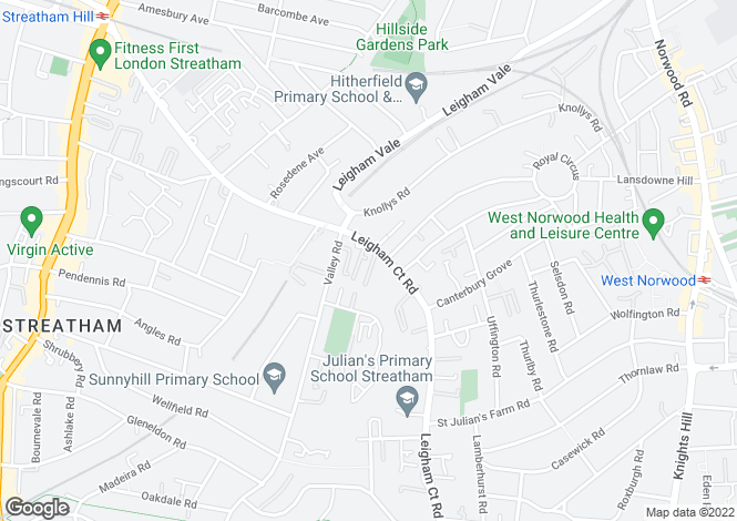 Map for Leigham Court Road, Streatham, SW16