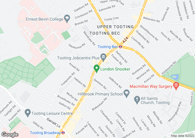 Map for Upper Tooting Road, SW17 7TW