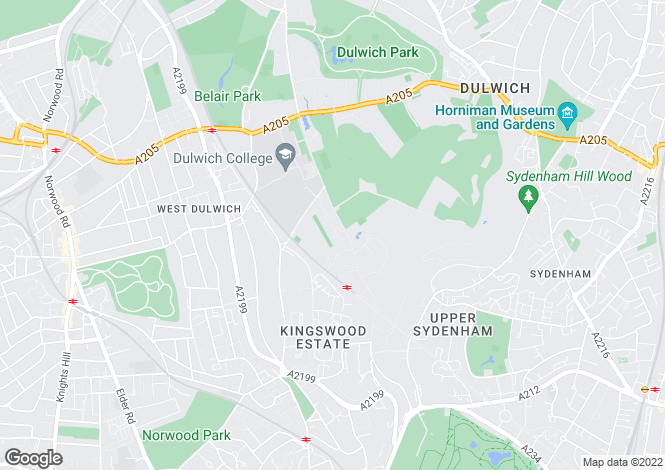 Map for College Road, Dulwich