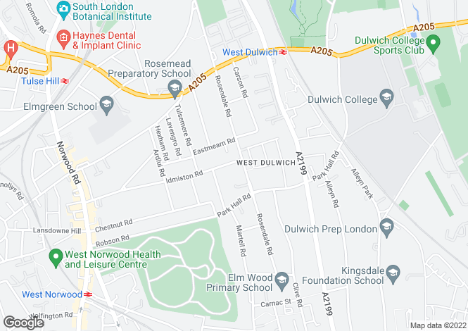 Map for Rosendale Road, Dulwich