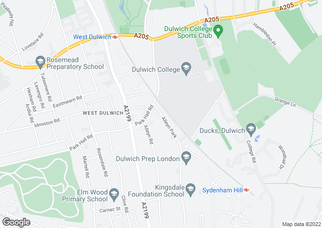 Map for Alleyn Park, Dulwich Village