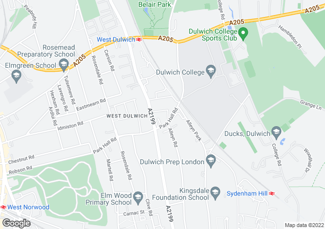 Map for Ildersley Grove, West Dulwich, London
