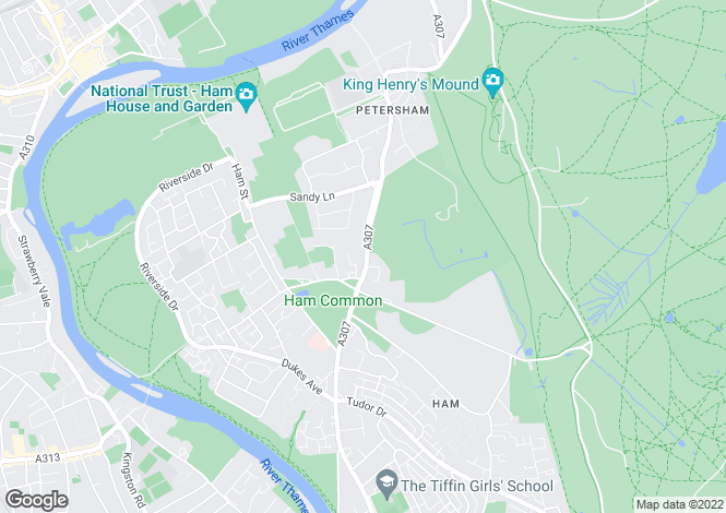 Map for Petersham Road, Ham