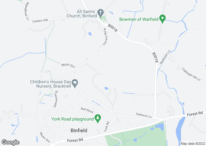 Map for Binfield Park, Binfield, Bracknell, Berkshire, RG42