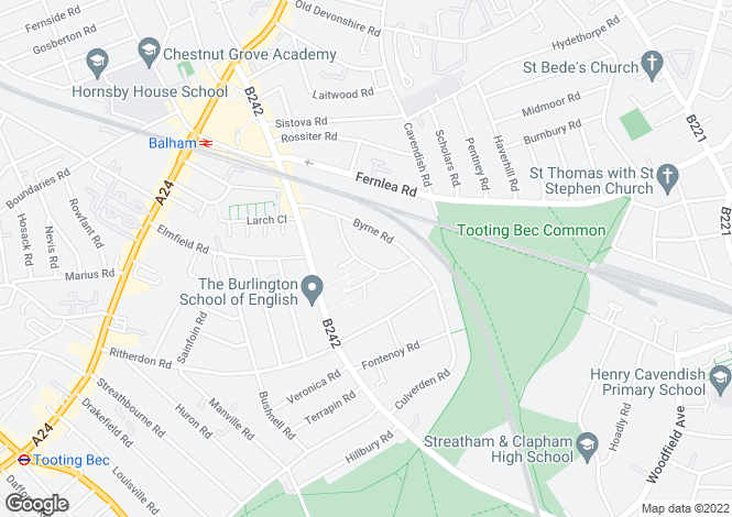 Map for Cornford Grove, Balham