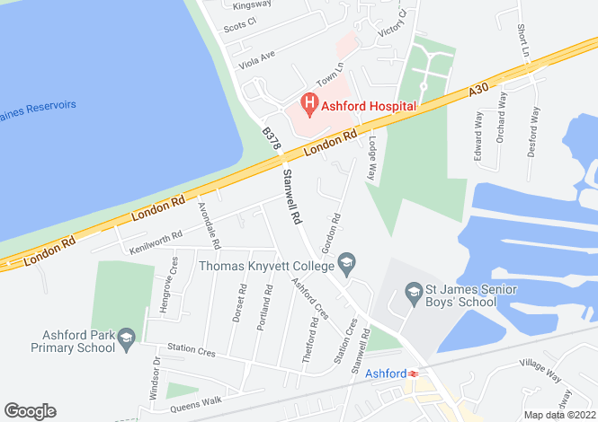 Map for Stanwell Road, Ashford, TW15