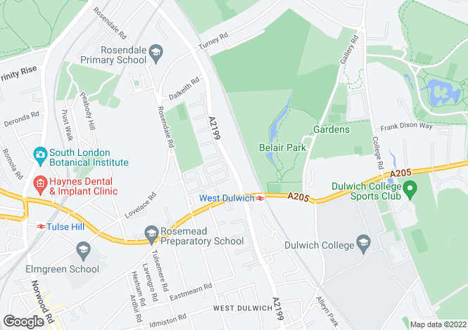Map for Croxted Road, Dulwich, SE21
