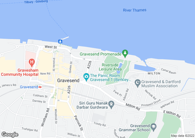 Map for East Terrace, GRAVESEND, Kent