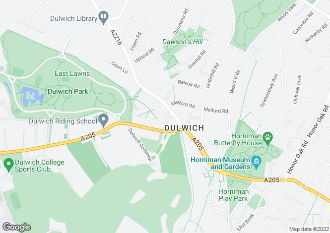 Map for Lordship Lane, East Dulwich