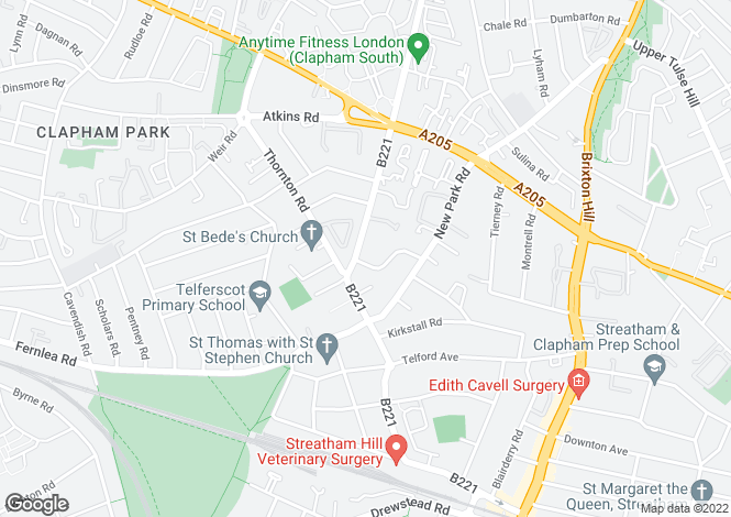 Map for Kings Avenue, Clapham, SW12