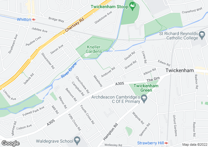 Map for Andover Road, Twickenham