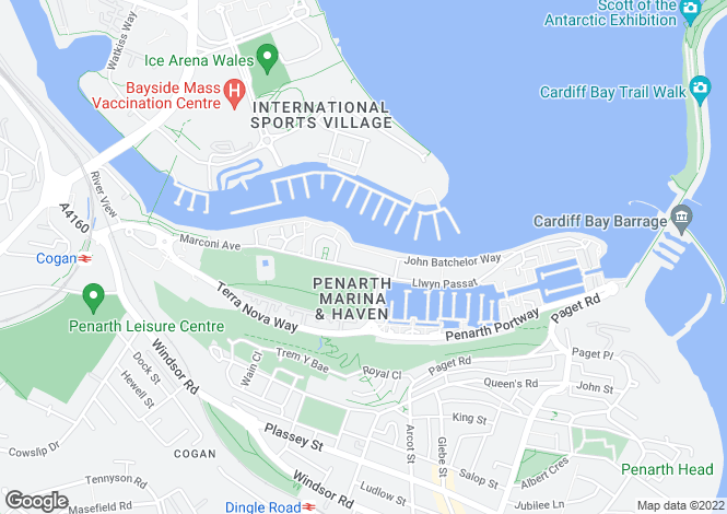 Map for Flat 34, Ty Windsor, Marconi Avenue, Penarth Marina