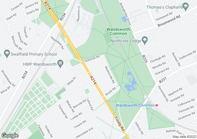 Map for Henderson Road, Wandsworth, SW18