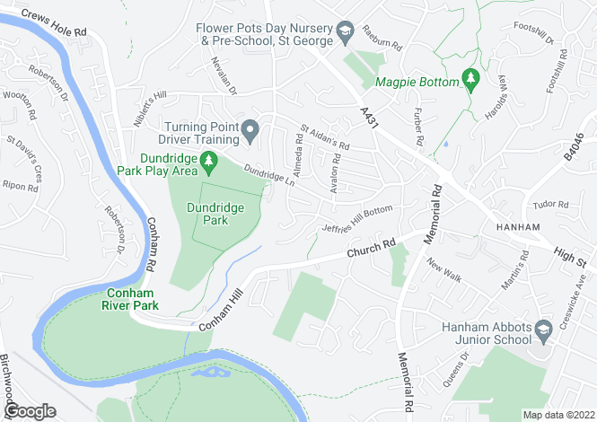 Map for Poplar Road, Hanham, Bristol