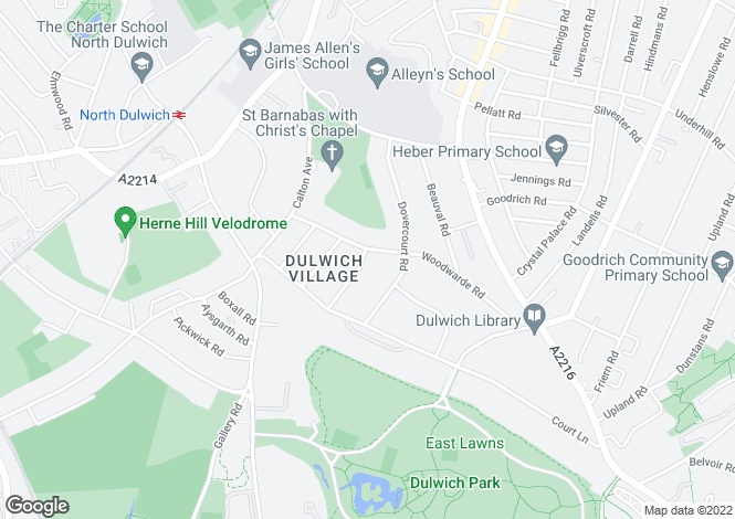 Map for Woodwarde Road, Dulwich, London
