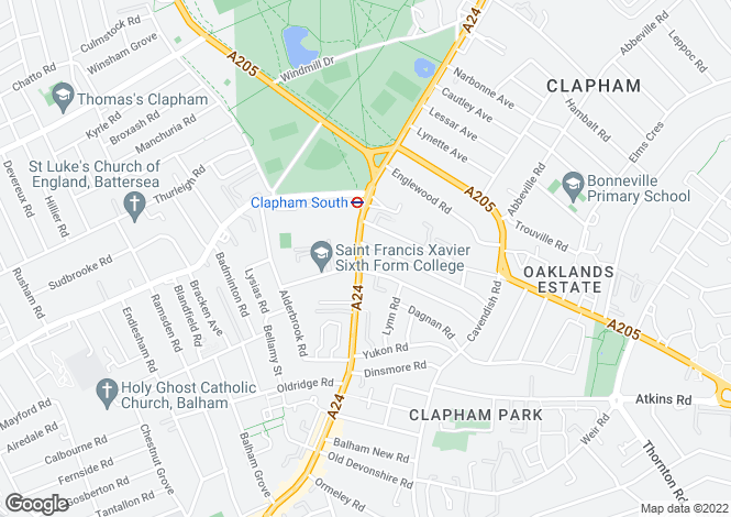 Map for White Hill House Four, Clapham South