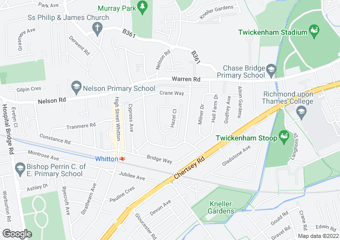 Map for Hazel Close, Twickenham, TW2