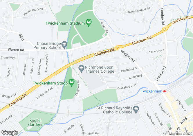Map for Egerton Road, Twickenham, TW2