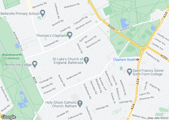 Map for Thurleigh Road, Clapham, London SW12 8TY