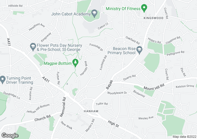 Map for Footshill Road, Hanham