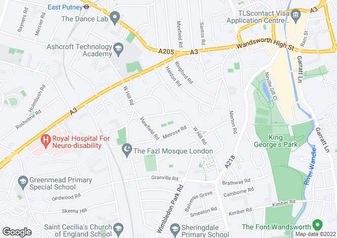 Map for West Hill Road, Putney