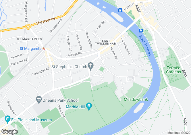 Map for Cambridge Park, Twickenham, TW1