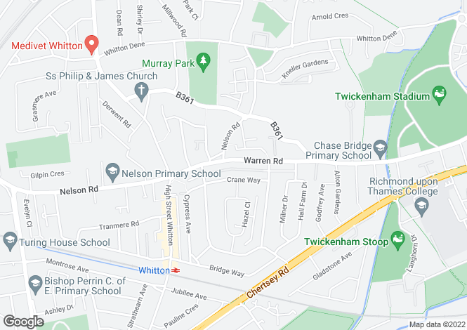 Map for Warren Road, Whitton, Twickenham