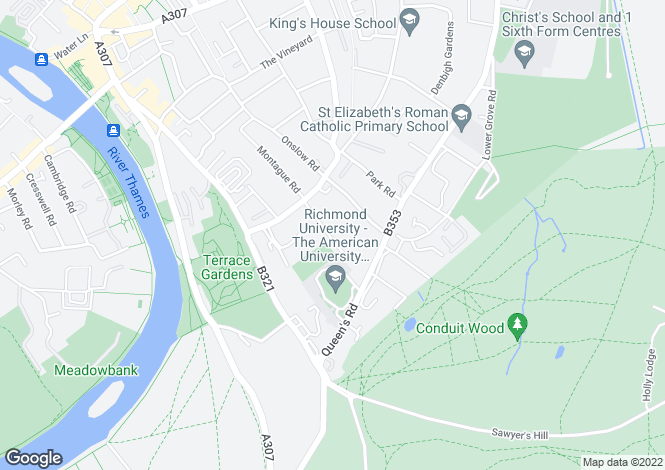 Map for Rosemont Road, Richmond, Surrey, TW10