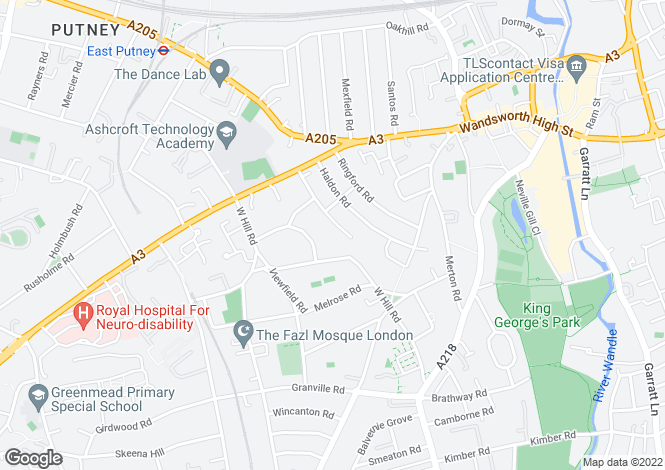 Map for Amerland Road Putney SW18