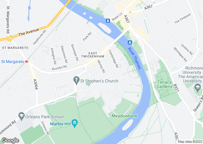Map for East Twickenham, TW1