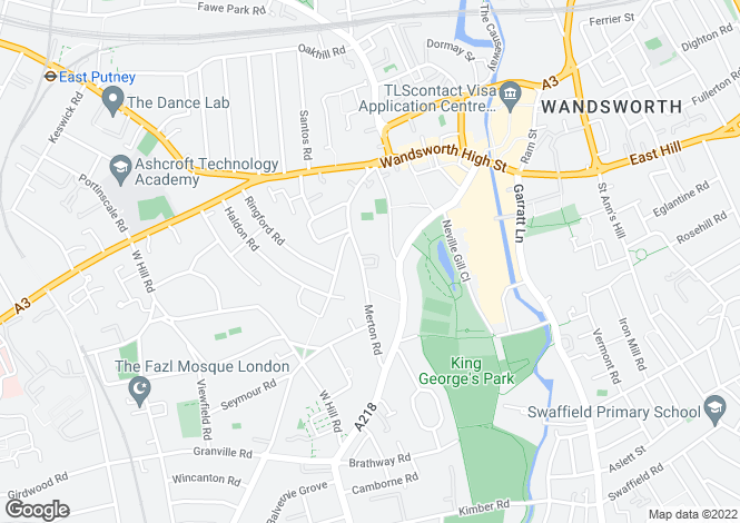 Map for Merton Road, Wandsworth