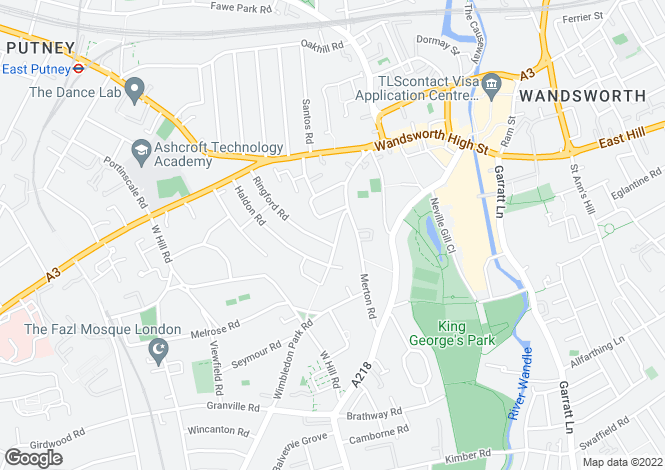 Map for Southfields Road, LONDON, SW18