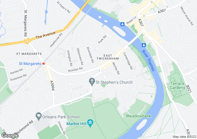 Map for Cambridge Park, Twickenham, Richmond, TW1