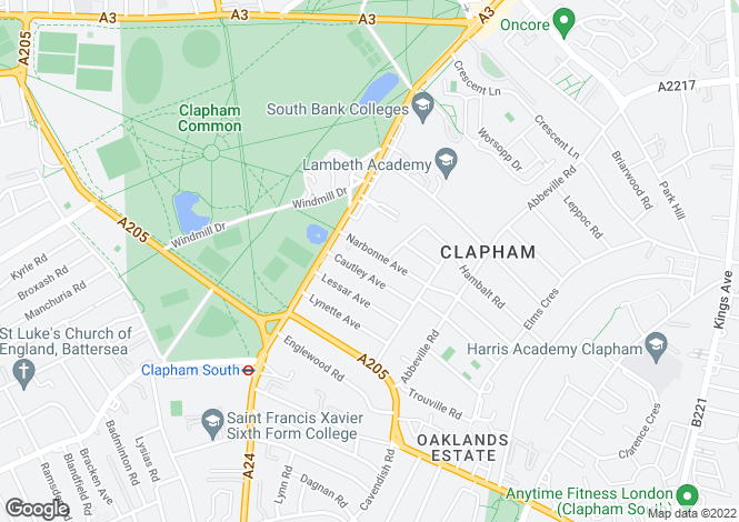 Map for Narbonne Avenue, SW4 - 4 bedrooms & 3 bathrooms