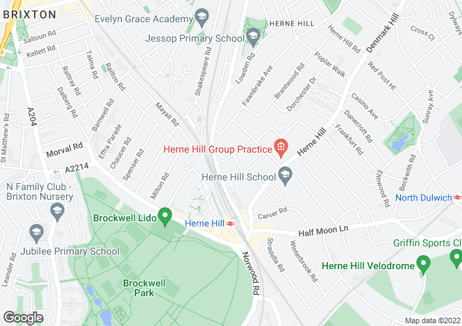 Map for Gubyon Avenue, Herne Hill, SE24