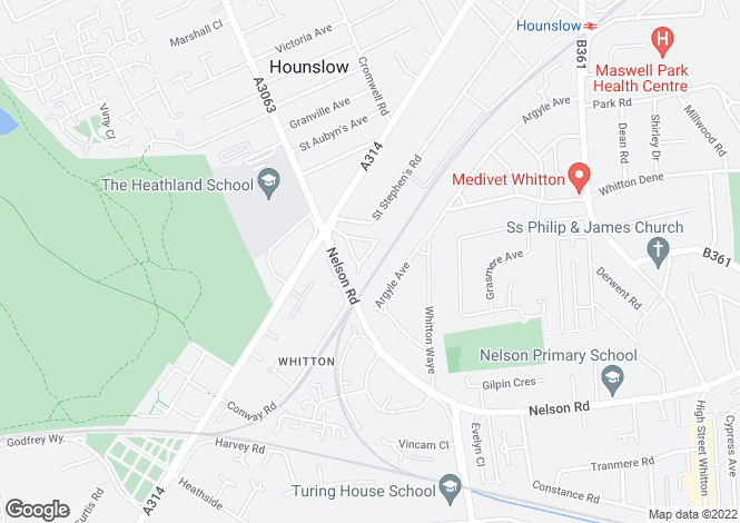 Map for Nelson Gardens, Hounslow, TW3