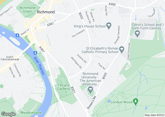 Map for Onslow Road, Richmond, TW10