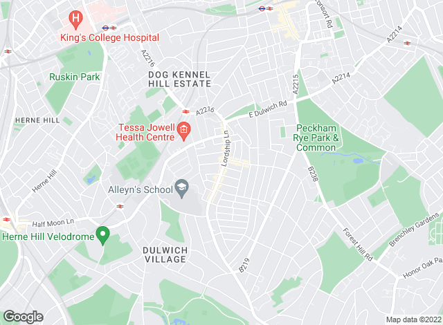 Map for Acorn, Dulwich