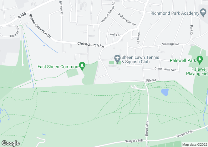 Map for Fife Road, East Sheen, London  SW14 7EL
