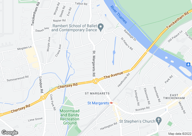 Map for St Margarets Road, St Margarets, Middlesex