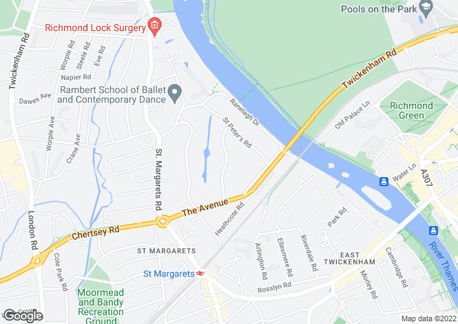 Map for St George's Road, St Margarets, Richmond, TW1
