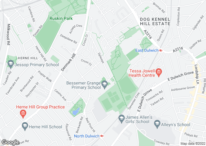 Map for Woodfarrs, Herne Hill, SE5