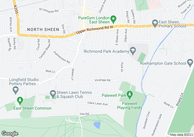 Map for Palewell Park East Sheen SW14