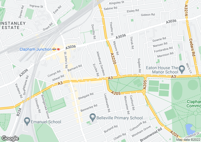Map for Altenburg Gardens, Clapham Junction, SW11